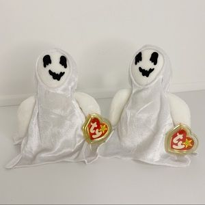 """Ghost TY Original Beanie Baby """"Sheets""""   Set of 2"""